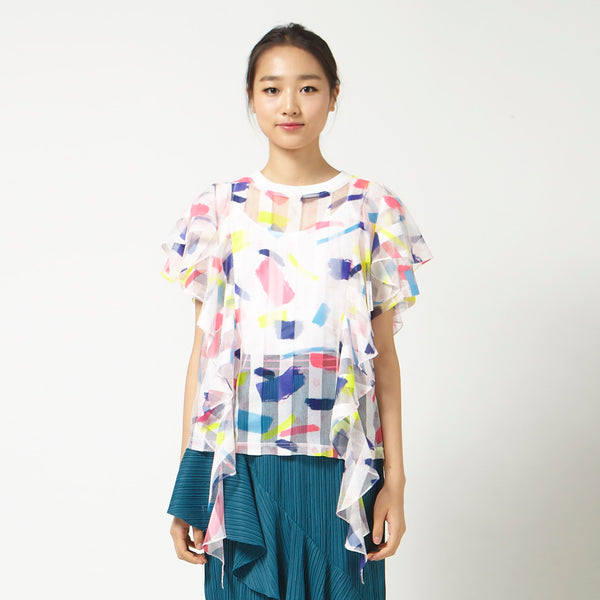 Printed Top with Flutter Sleeves