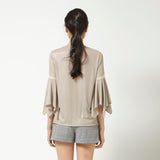 Shimmer Top with Flare Sleeve in Beige