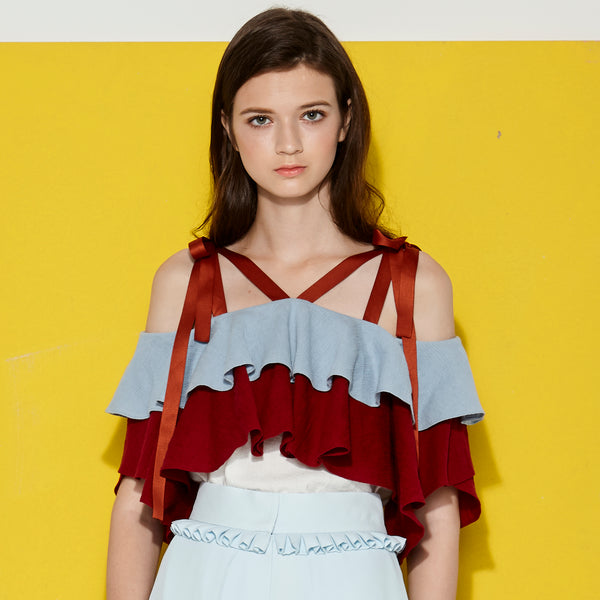 Keycolour Colour Blocking Ruffles Top With Ribbon Straps