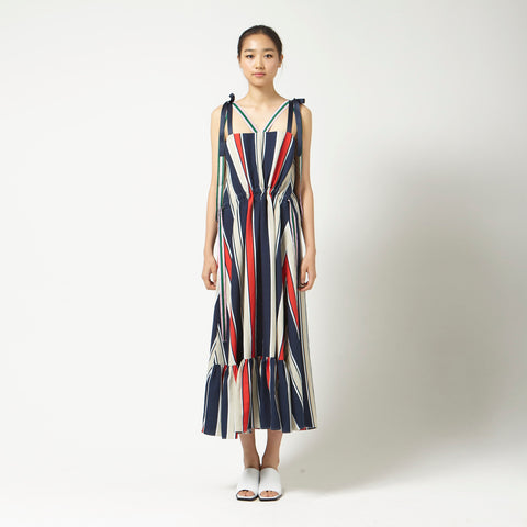 Striped Dress with Ribbons in Navy