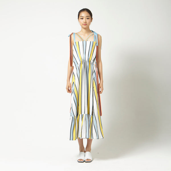 Striped Dress with Ribbons in Yellow