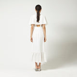 Long Dress with Cape in White