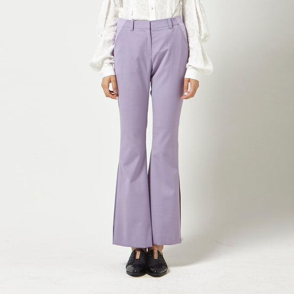 Slim Leg Flare Pants in Purple