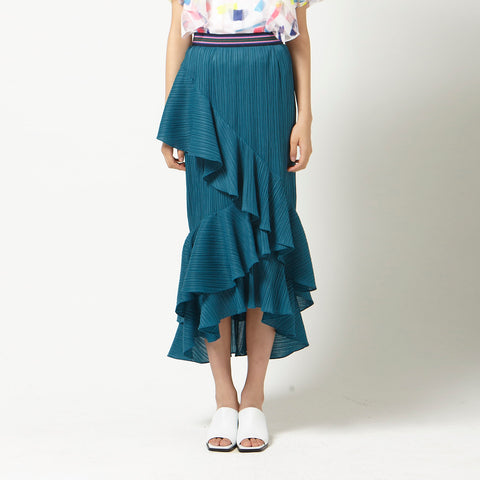 Tiered Pleated Skirt in Blue-Green
