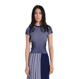 Odelia Ribbed Tee - Evening Blue