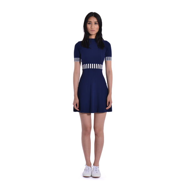 Talia Colourblocked Fit and Flare Dress - Blue