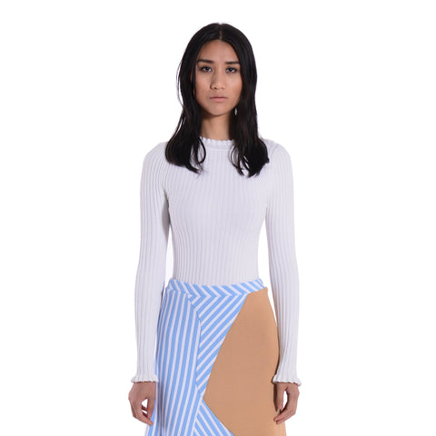 Vanessa Peplum Turtleneck Pullover Cloud White
