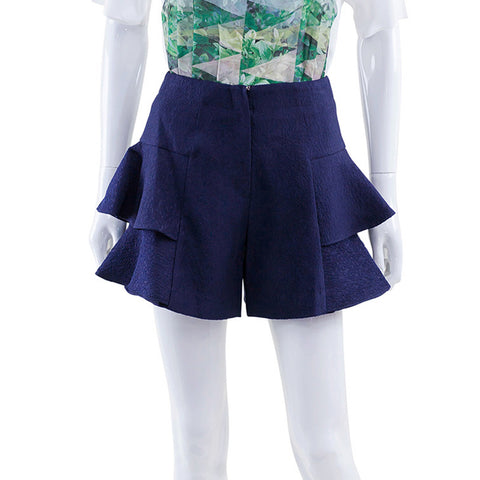 Side Ruffle Shorts - Navy