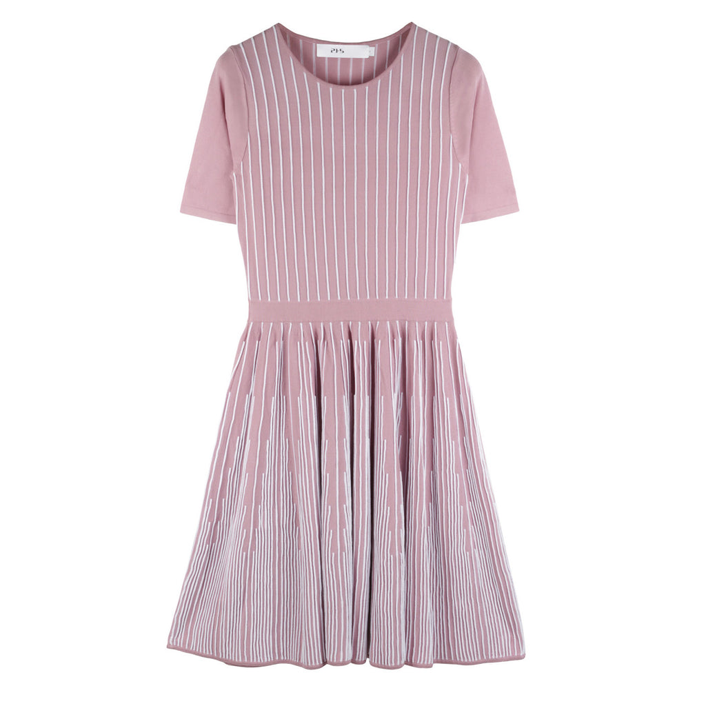 Mimosa Rib Flare Dress in Pale Pink