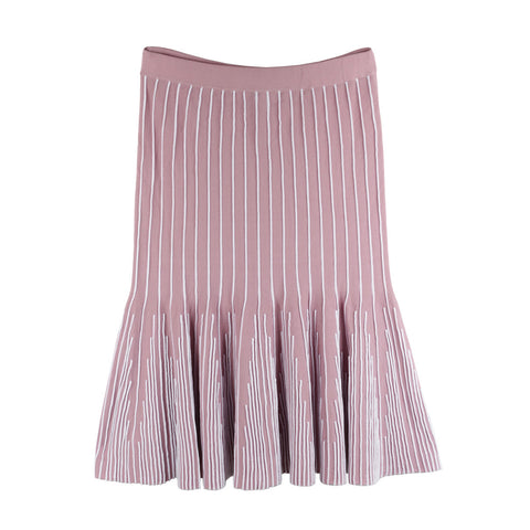 Ivy Rib Flare Skirt - Pale Pink