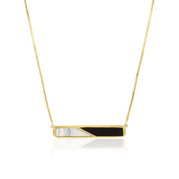 Prism Jade & Marble Bar Necklace