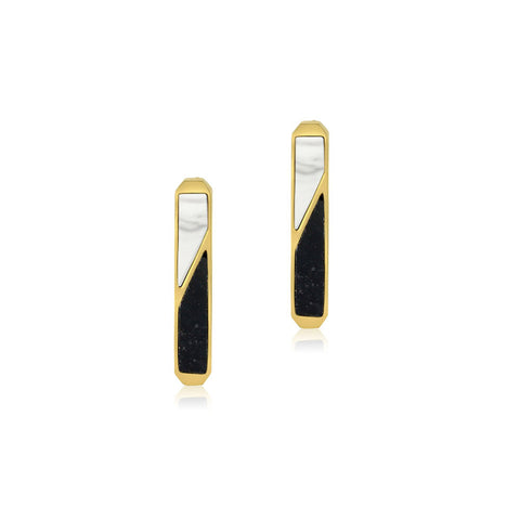Prism Jade & Marble Gold Earrings