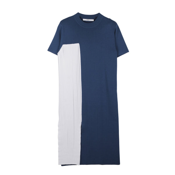 Tiana Colourblocked Pleated Dress with Side Slit