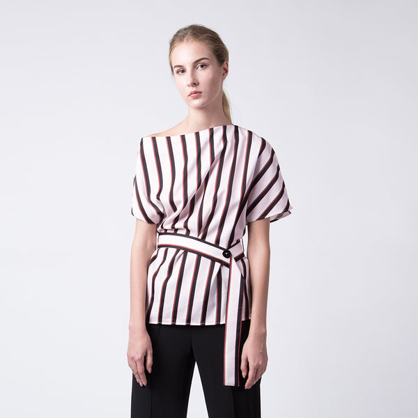 Three Tone Belted Top