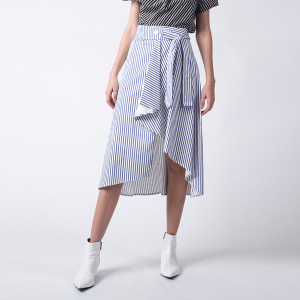 Blue Striped Belted Skirt
