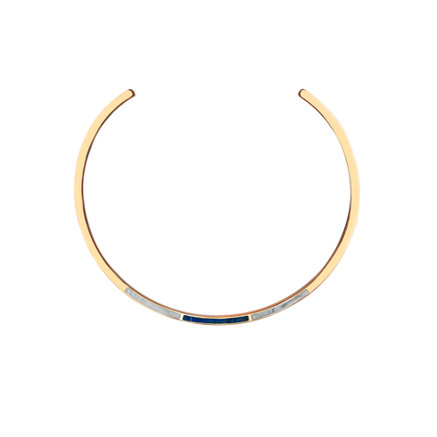 Trio Collar Necklace In Lapis & Marble