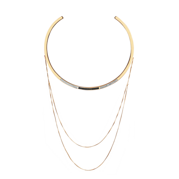 Trio Drape Collar Necklace In Jade & Marble