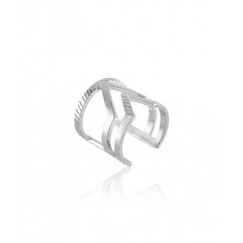 Chevron Duo Ring - Silver