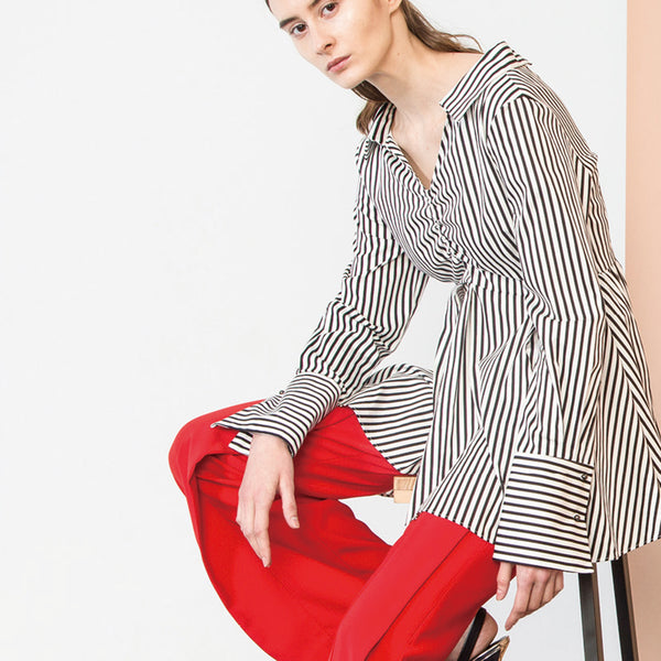 Black Striped Ruched Blouse