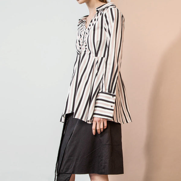 Pink Striped Ruched Blouse