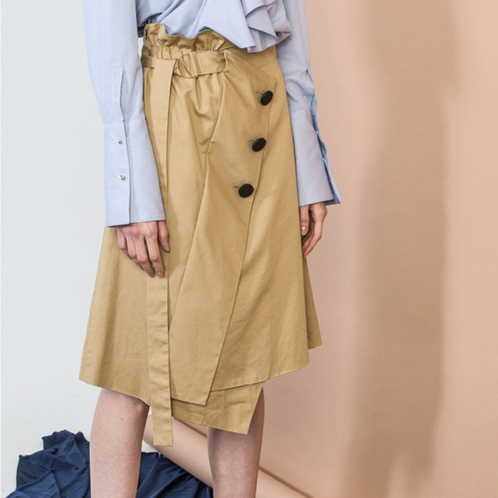 Khaki Deconstructed Skirt
