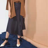 Navy Striped Asymmetric Skirt