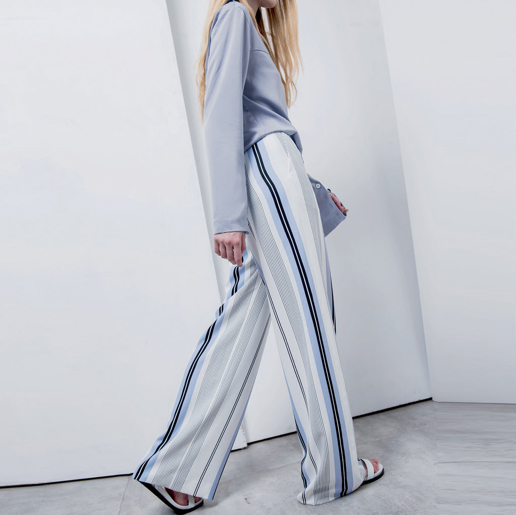 Jil Striped Wide-Leg Trousers