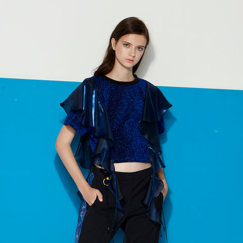 Metallic top with Flutter Sleeves in Blue