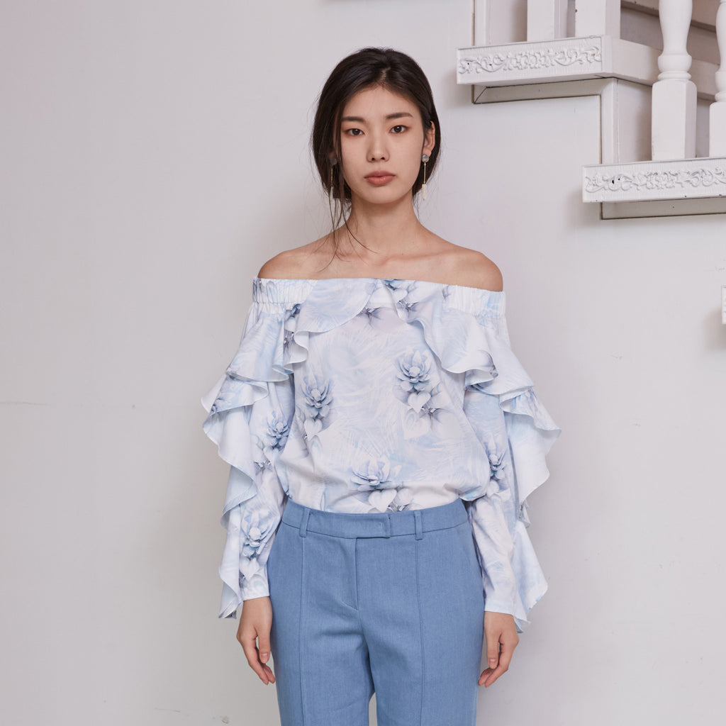 Skyblue Frill Off-Shoulder Top