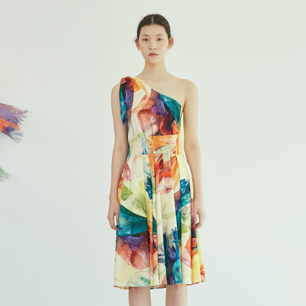 Twisted Rainbow Asymmetric Full Dress