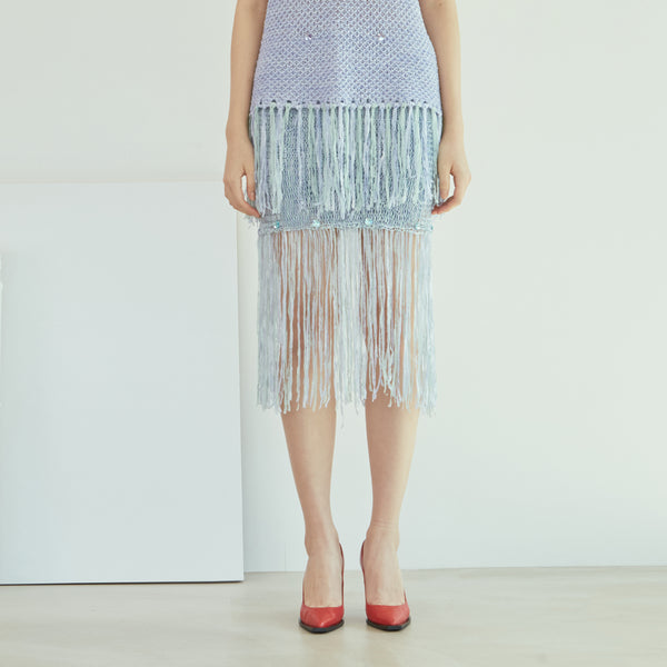 Blue Swarovski Tape Knit skirt