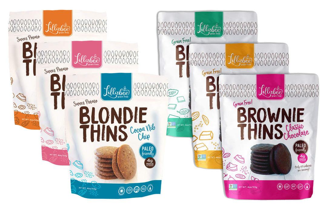 Lillabee Brownie & Blondie Thins - Variety Pack - All Six Flavors! - 6 Pack - Grain Free, Paleo Friendly