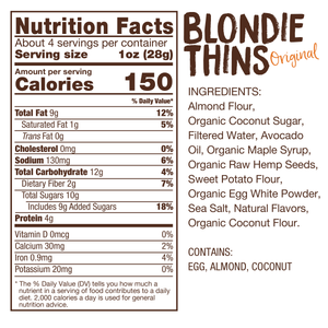 Lillabee Blondie Thins - Original Vanilla - 3 Pack - Grain Free, Paleo Friendly