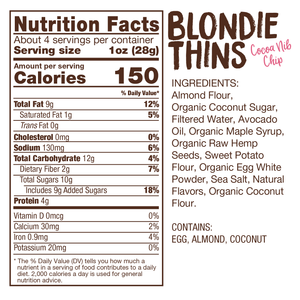 Lillabee Blondie Thins - Toasted Coconut - 3 Pack - Grain Free, Paleo Friendly