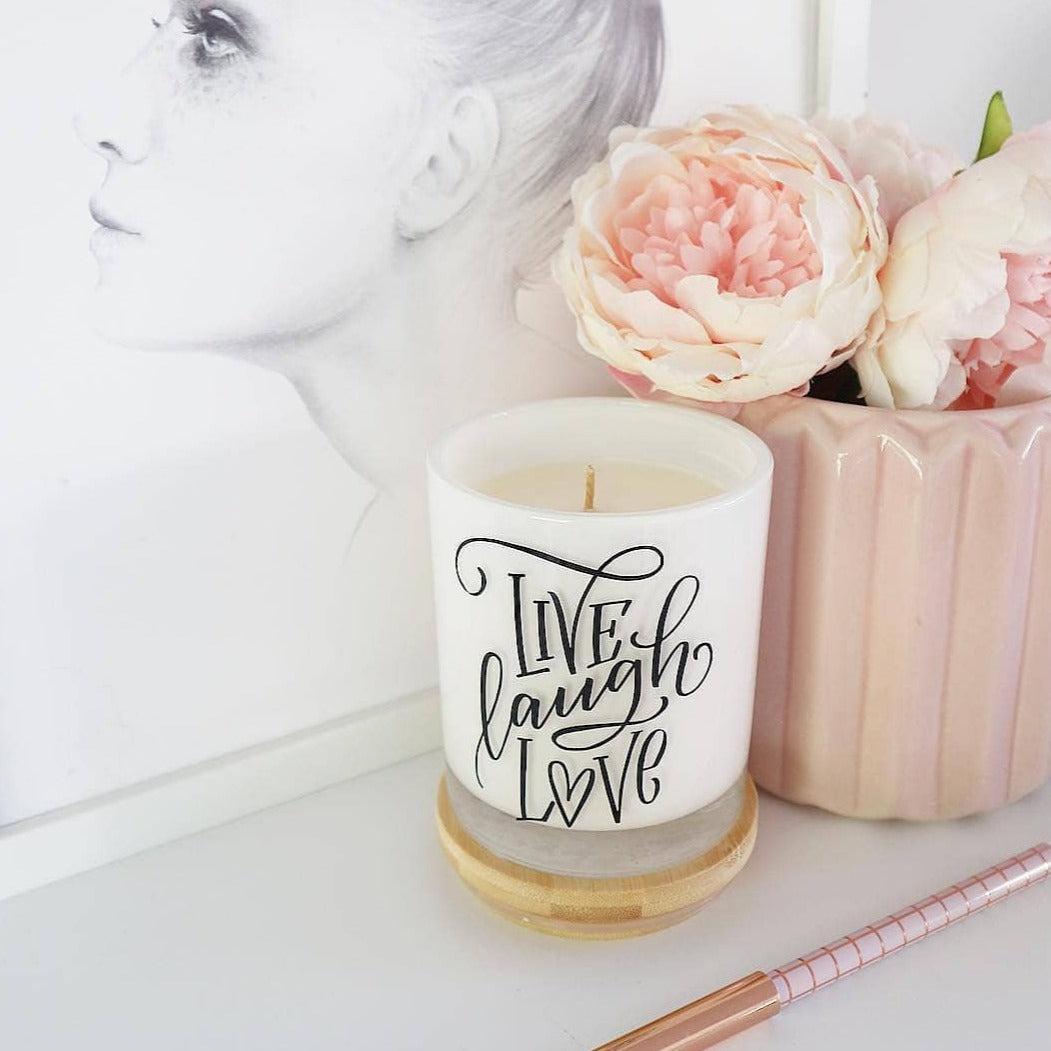 Large Quote Candle - Live Laugh Love