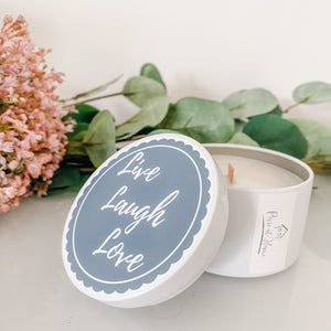Travel Tin Quote Candle | Live Laugh Love