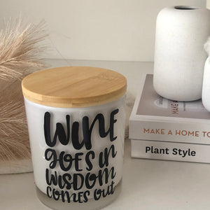 Large Quote Candle - Wine Goes In