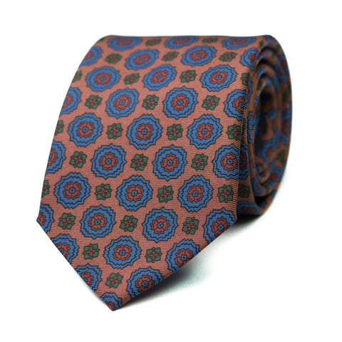 AGRAZ - Ancient Madder silk tie with initials - The Seëlk - 1