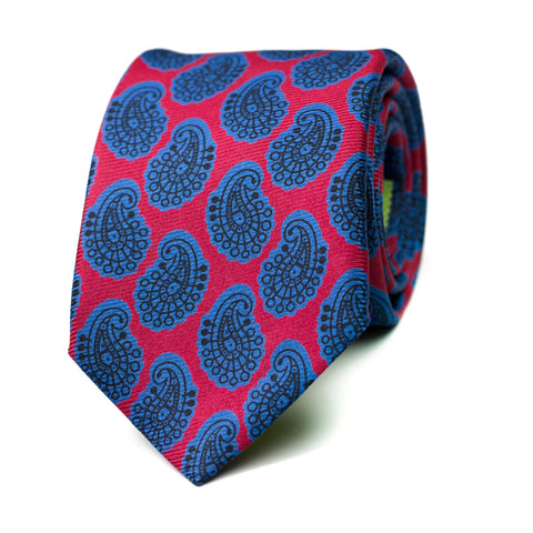 ARREBATO - Ancient Madder silk tie with initials - The Seëlk - 1