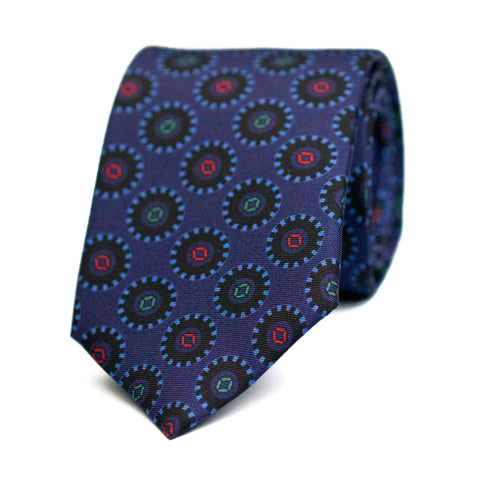 BAGUENAUDE - Printed silk tie with initials - The Seëlk - 1