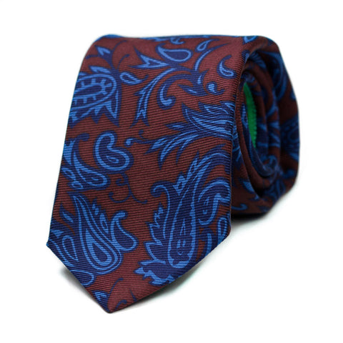 DERANGEMENT - Ancient Madder silk tie with initials - The Seëlk - 1
