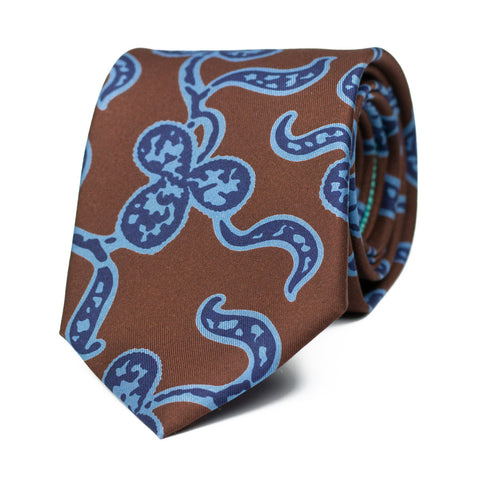 DEVANEO - Ancient Madder silk tie with initials - The Seëlk - 1