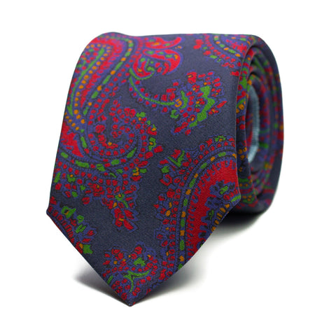 ESCLANDRE - Printed silk tie with initials - The Seëlk - 1