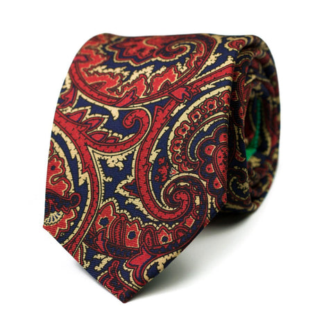EXTRAVAGANCIA - Ancient Madder silk tie with initials - The Seëlk - 1