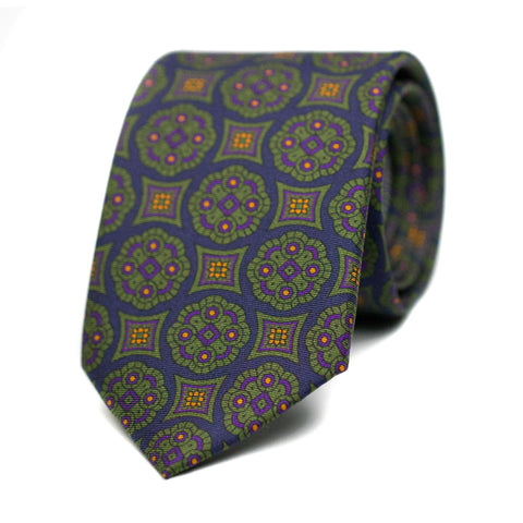 FARIBOLE - Printed silk tie with initials - The Seëlk - 1