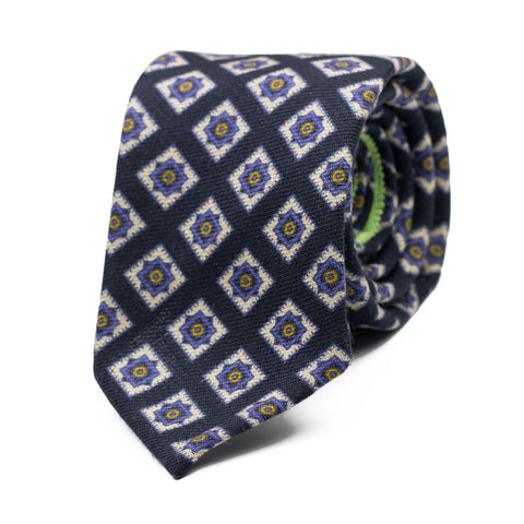 GAGLIOFFO - Wool and Silk tie with initials - The Seëlk - 1
