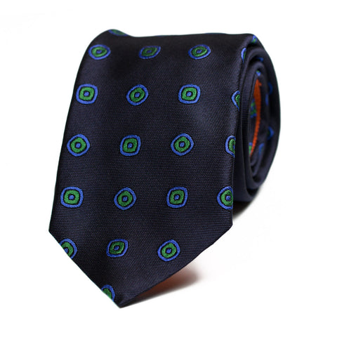 INGLENOOK - Jacquard silk tie with initials - The Seëlk - 1