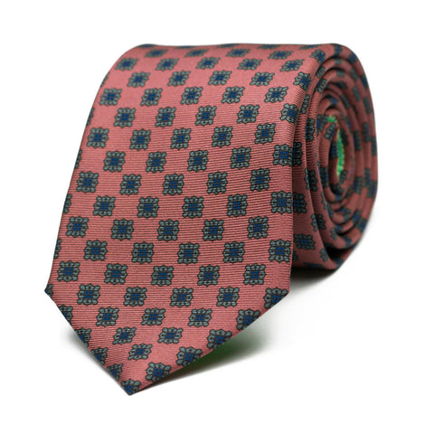 MONOMANIA - Ancient Madder silk tie with initials - The Seëlk - 1