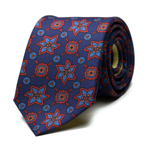 NEUROSIS - Ancient Madder silk tie with initials - The Seëlk - 1
