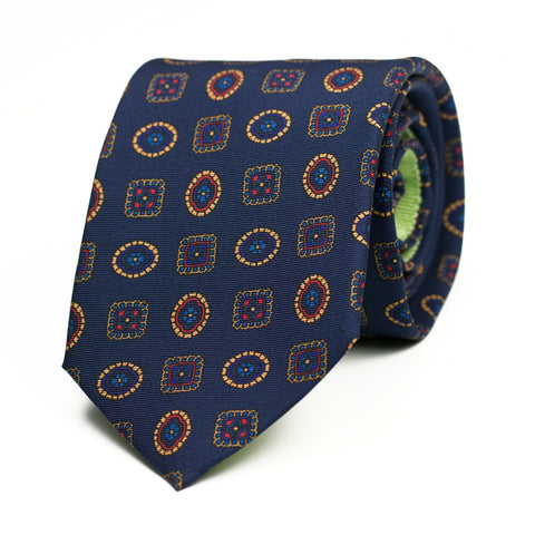 PSITTACISME - Printed Silk tie with initials - The Seëlk - 1
